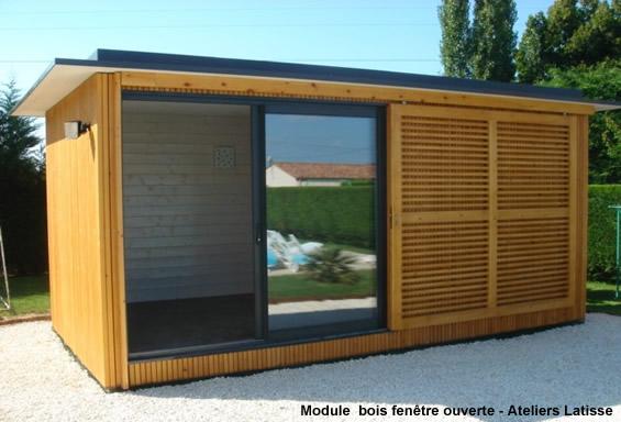 Module bois ind pendant pour extension dans le jardin for Bureau de jardin prix