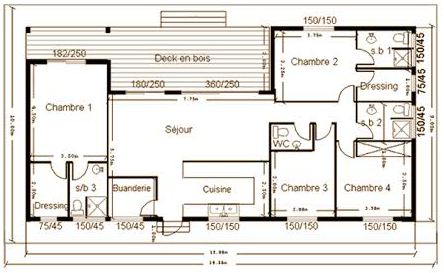 plan maison contemporaine 170 m2
