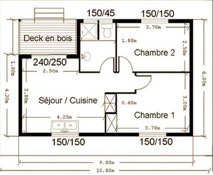 Plan architecte maison 50 m2 for Plan de petite maison