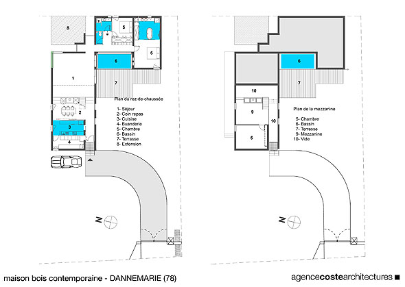 Maison contemporaine ossature bois maison coste for Plan maison architecte contemporaine