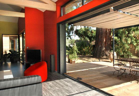 Maison En Bois Contemporaine  Maison Avec Baie Vitre  Galandage