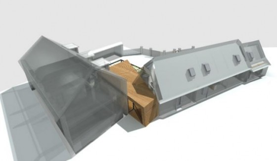 Extension bois permettant de r unir une maison ancienne en for Extension maison 3 murs