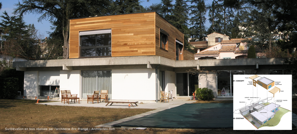 Extension de maison réalisée par surélévation