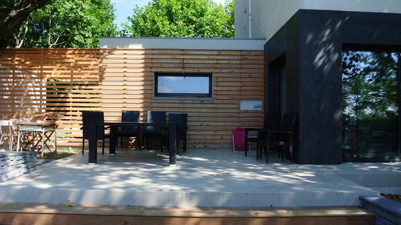 Extension maison avec r novation compl te for Maison bardage bois gris