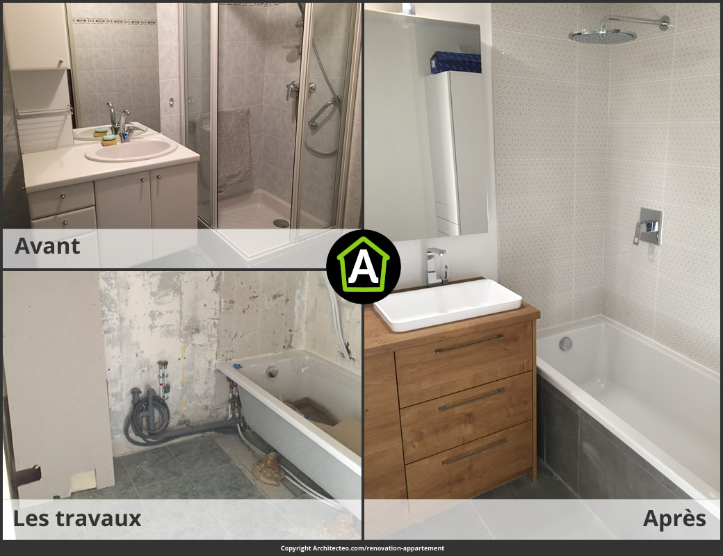 R novation d 39 appartement prix photos avant apr s - Salle de bain a renover ...